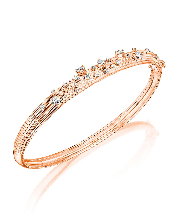 Bahia 18k Pink Gold Diamond Bangle Bracelet