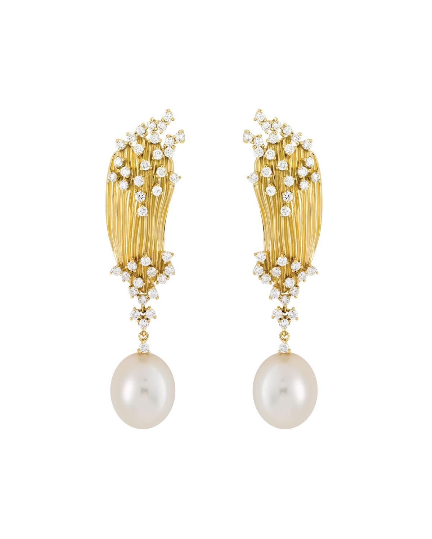 Bahia 18k Gold Pearl-Drop Earrings
