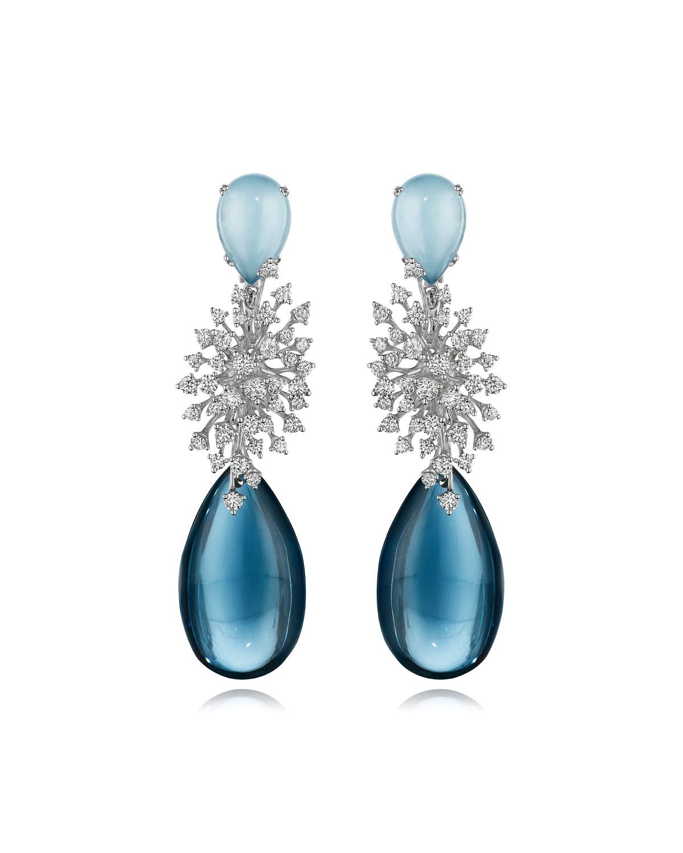 Luminus 18k White Gold Blue Topaz and Diamond Earrings