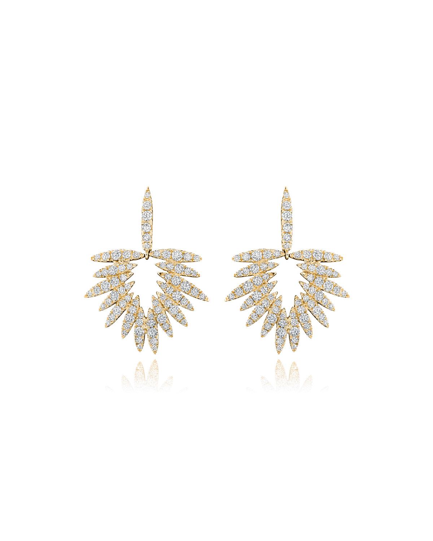Tribal 18k Gold Diamond Pave Drop Earrings