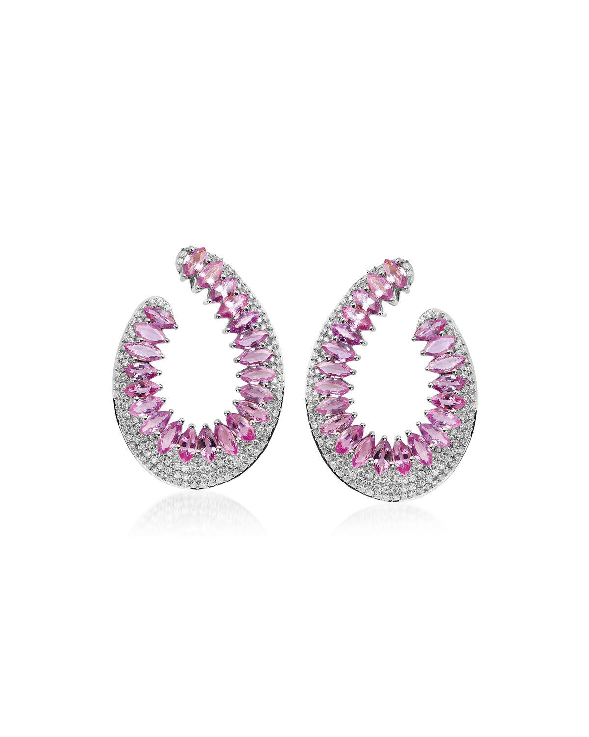Mirage 18k White Gold Pink Sapphire and Diamond Loop Earrings