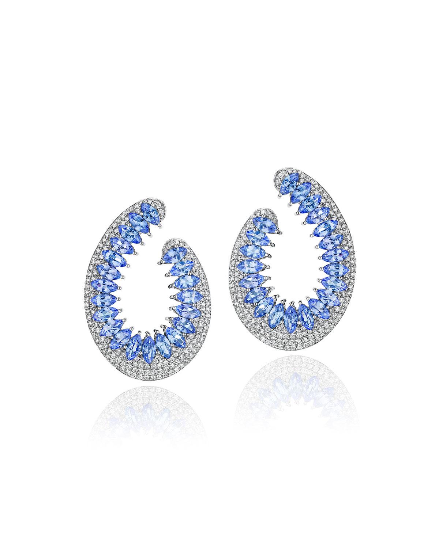Mirage 18k White Gold Tanzanite and Diamond Loop Earrings