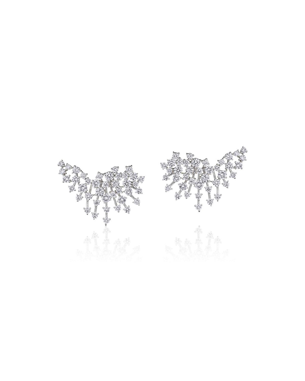 Luminus 18k White Gold Diamond Burst Earrings