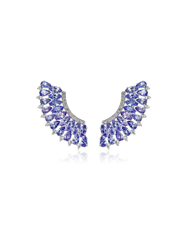 Mirage 18k White Gold Tanzanite and Diamond Pave Earrings