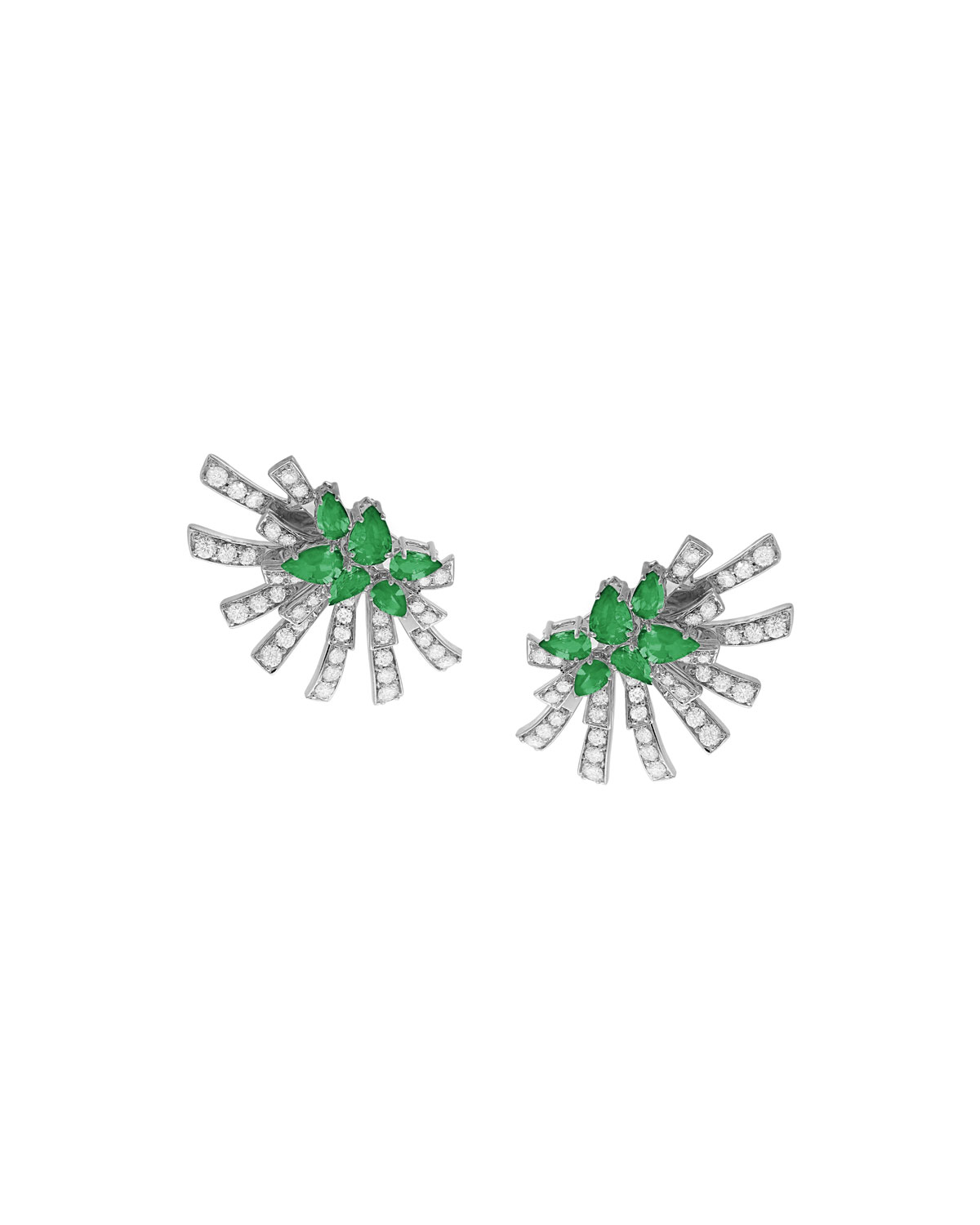 Mirage 18k White Gold Emerald and Diamond Cluster Earrings