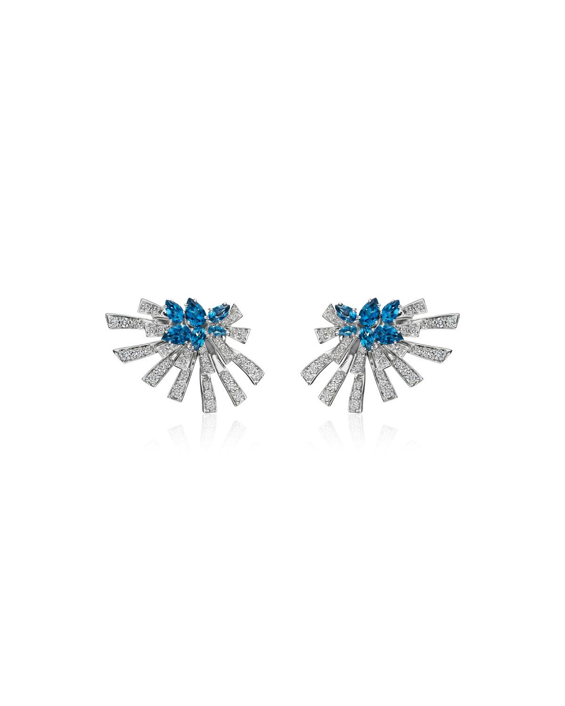 Mirage 18k White Gold Blue Topaz and Diamond Cluster Earrings
