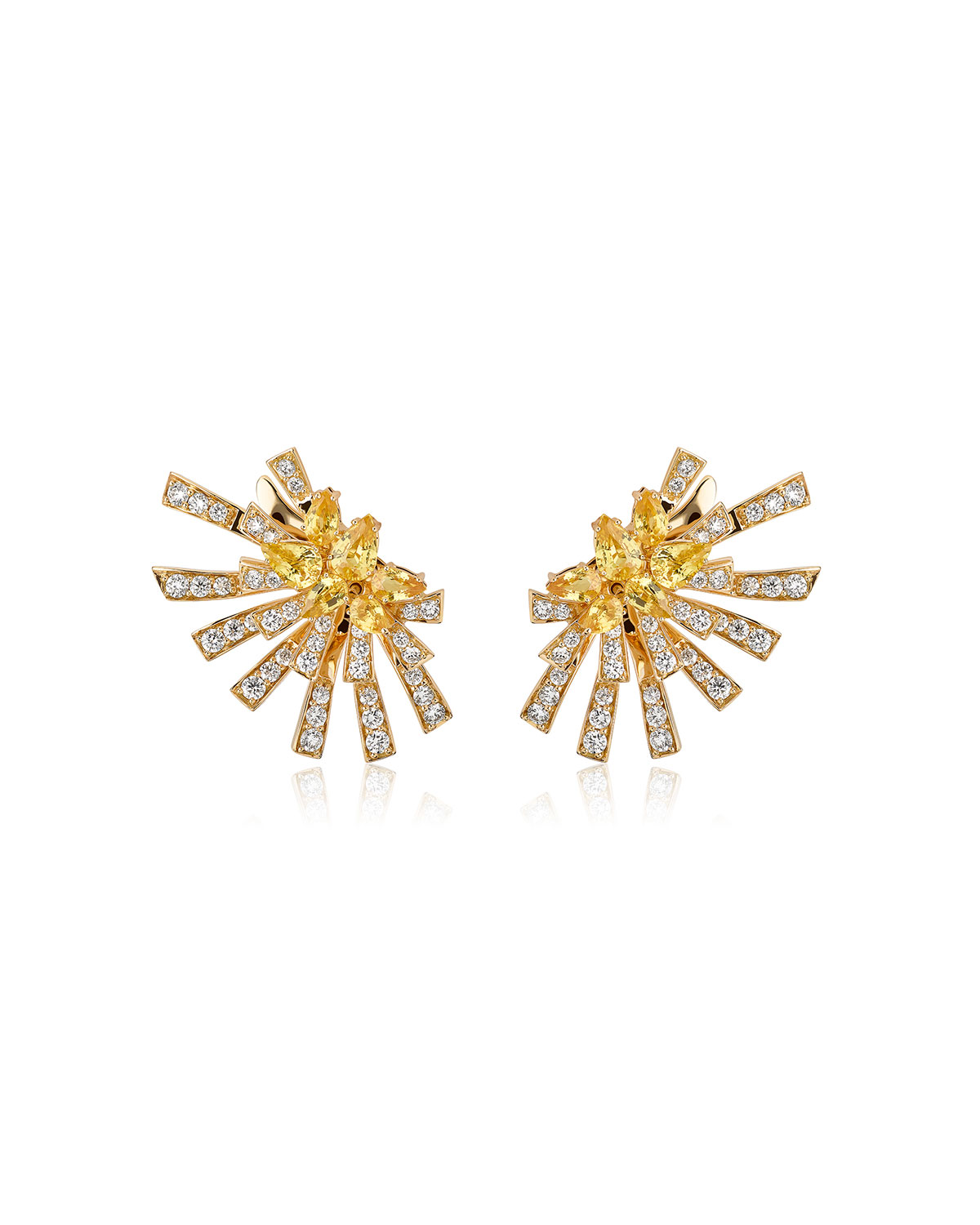 Mirage 18k Yellow Gold Yellow Sapphire and Diamond Cluster Earrings