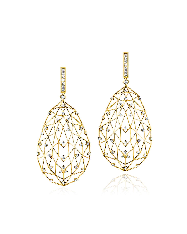 Estelar 18k Yellow Gold Caged Diamond Drop Earrings