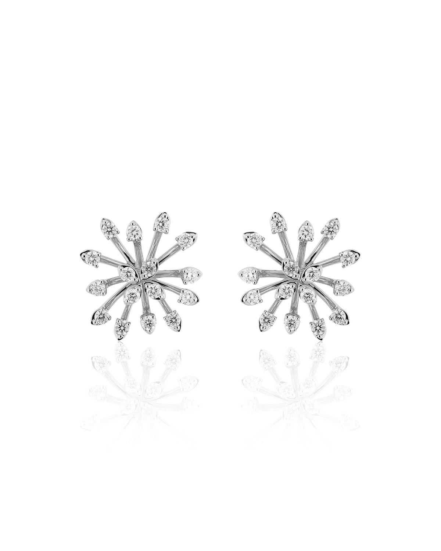 Luminus 18k White Gold Stemmed Diamond Stud Earrings