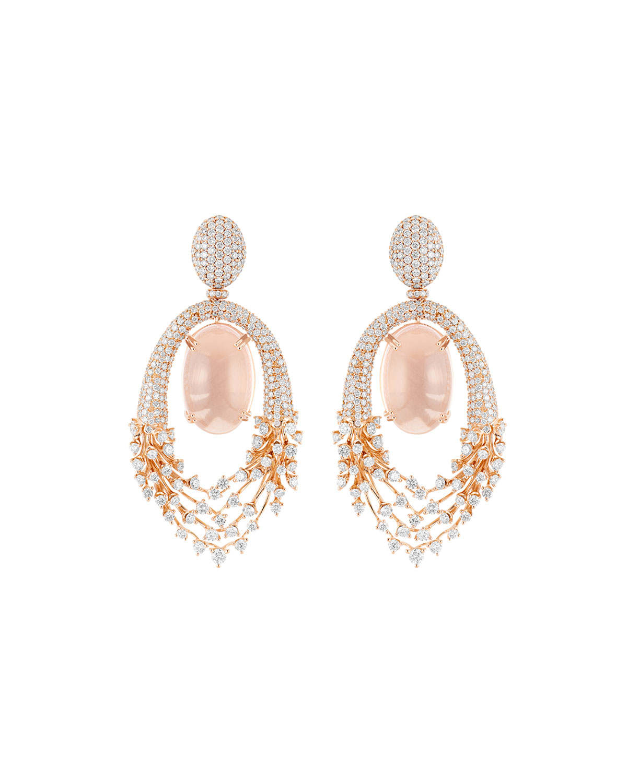Luminus 18k Pink Gold Diamond and Rose Quartz Drop Earrings