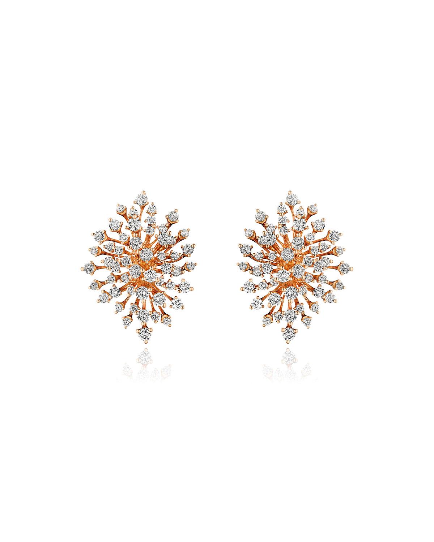 Luminus 18k Pink Gold Multi-Diamond Burst Earrings