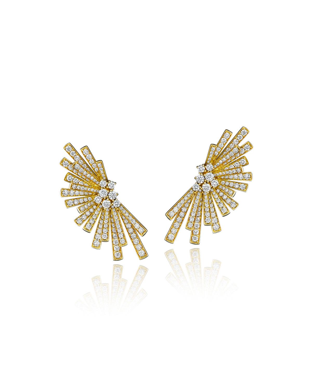 Tribal 18k Gold Diamond Pave Statement Earrings