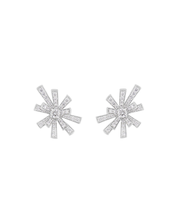 Tribal 18k White Gold Diamond Pave Stud Earrings