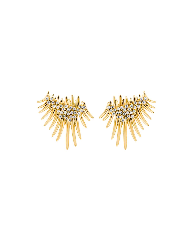 Tribal 18k Gold Diamond Cluster Stud Earrings