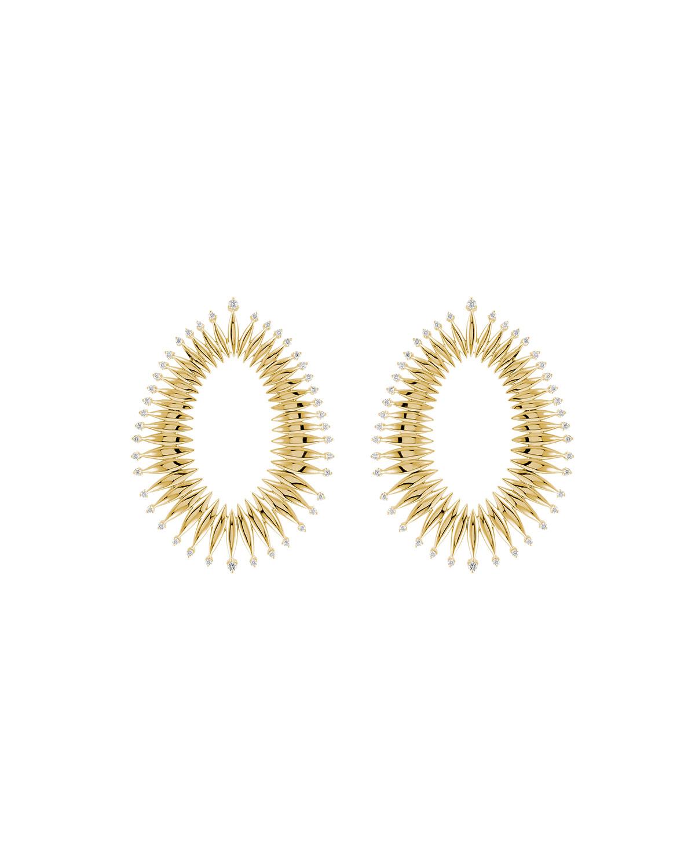 Tribal 18k Gold Diamond Open Drop Earrings