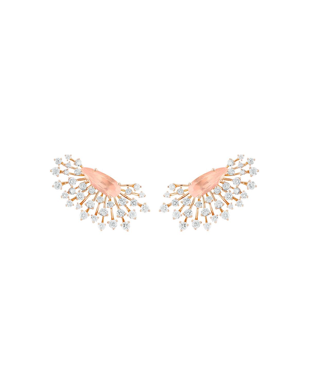 Luminus 18k Pink Gold Rose Quartz Pear and Diamond Earrings