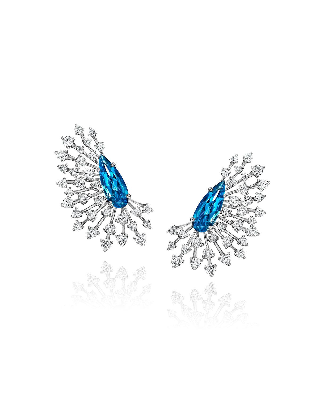 Luminus 18k White Gold Blue Topaz Pear and Diamond Earrings