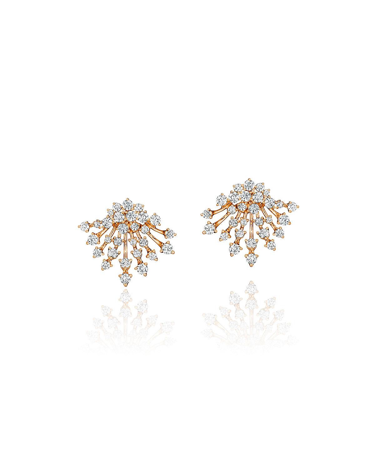 Luminus 18k Pink Gold Full Diamond Bouquet Earrings