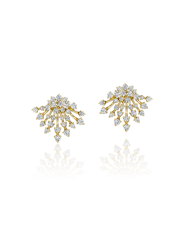 Luminus 18k Yellow Gold Full Diamond Bouquet Earrings