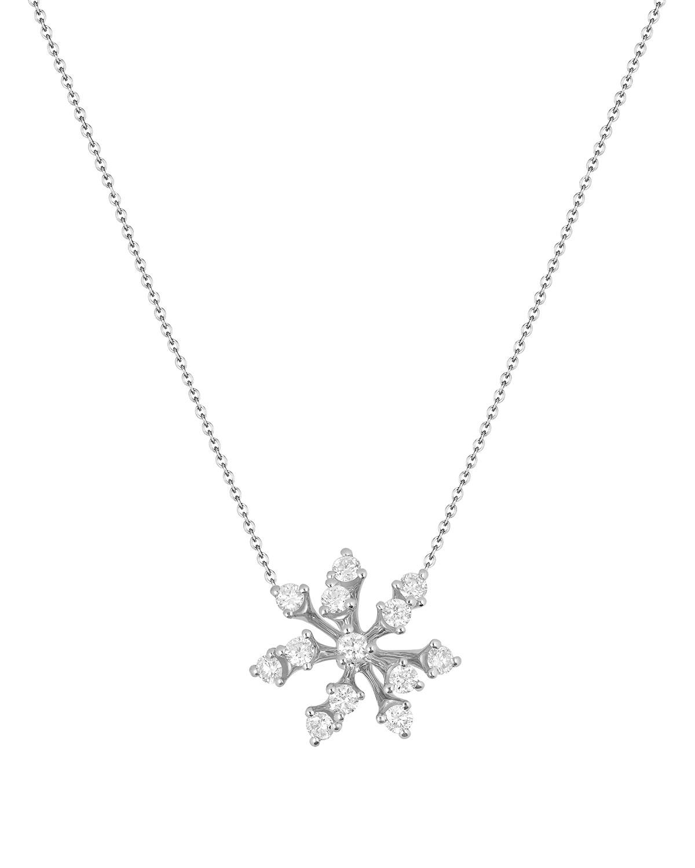 Luminus 18k White Gold Diamond Stemmed Pendant Necklace
