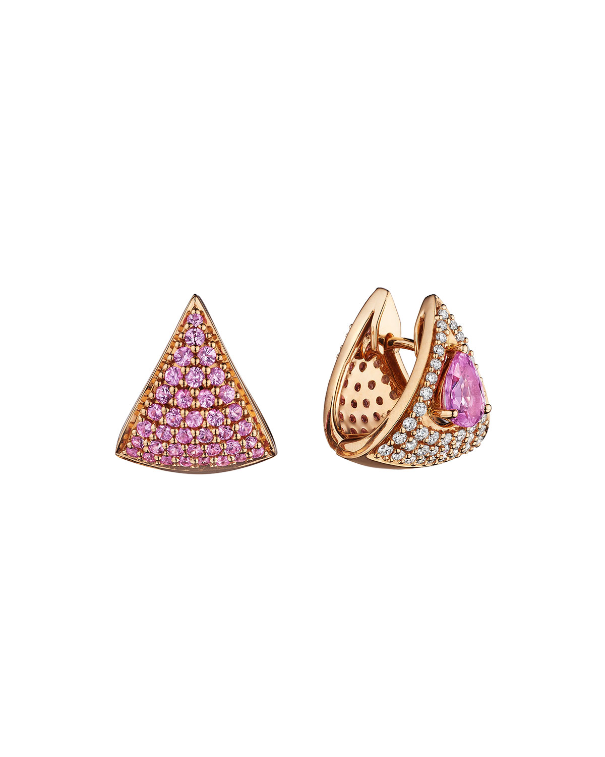 Mirage 18k Pink Gold Pink Sapphire and Diamond Huggie Earrings