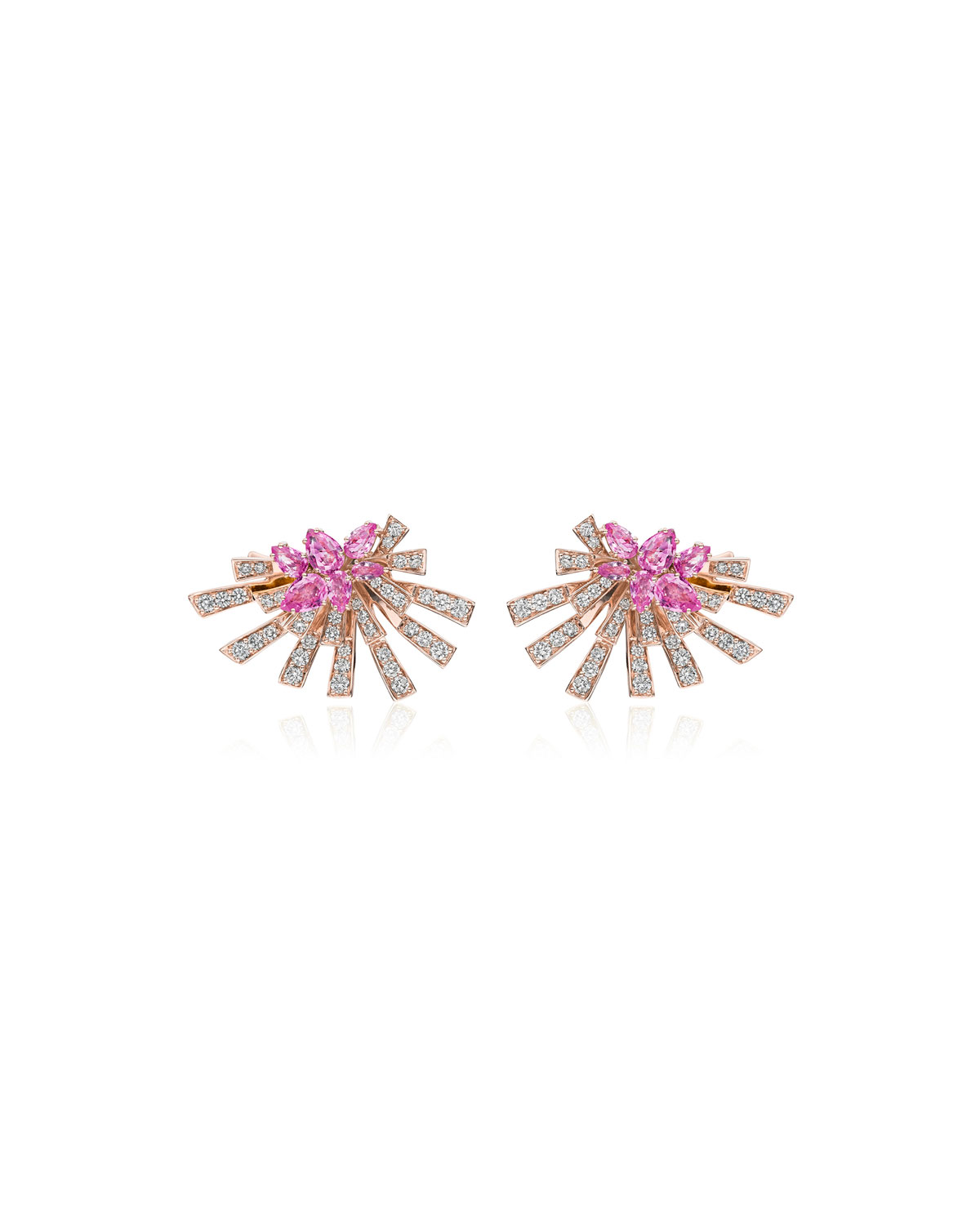 Mirage 18k Pink Gold Pink Sapphire and Diamond Cluster Earrings
