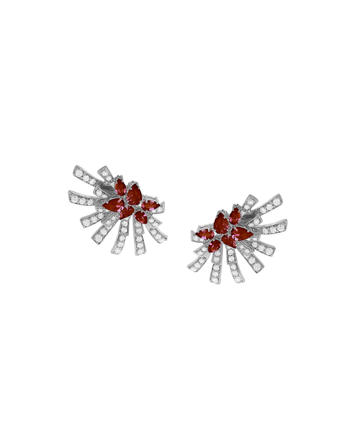 Mirage 18k White Gold Ruby and Diamond Cluster Earrings