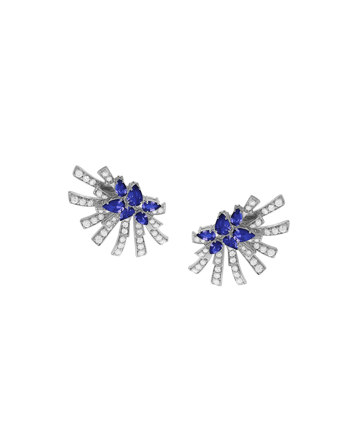 Mirage 18k White Gold Tanzanite and Diamond Cluster Earrings