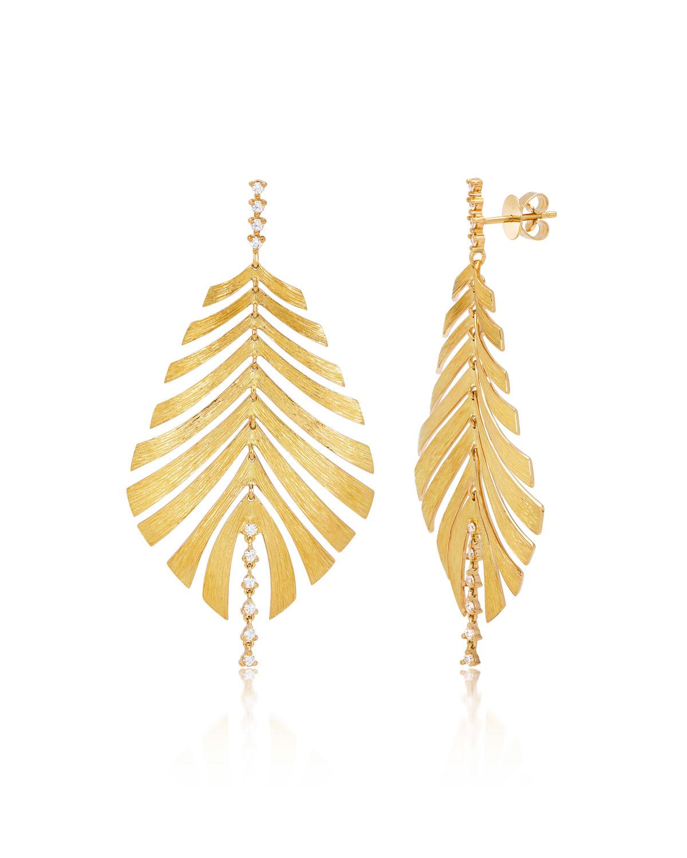 Bahia 18k Gold Palm Leaf Diamond Dangle Earrings