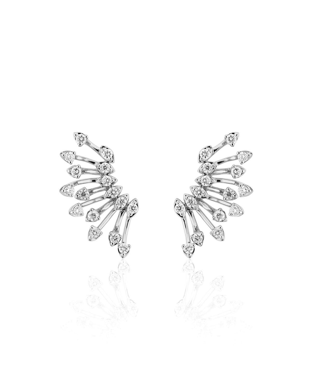Luminus 18k White Gold Diamond Semicircle Earrings