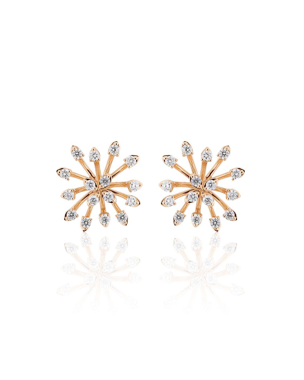 Luminus 18k Pink Gold Stemmed Diamond Stud Earrings