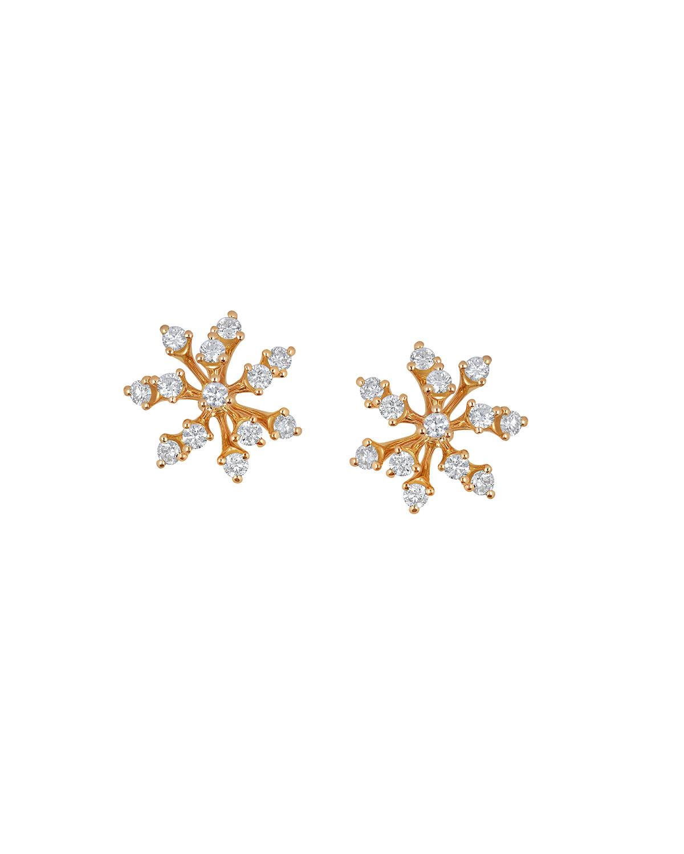Luminus 18k Pink Gold Multi-Diamond Stud Earrings