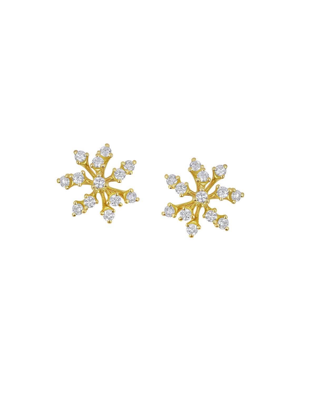 Luminus 18k Yellow Gold Multi-Diamond Stud Earrings