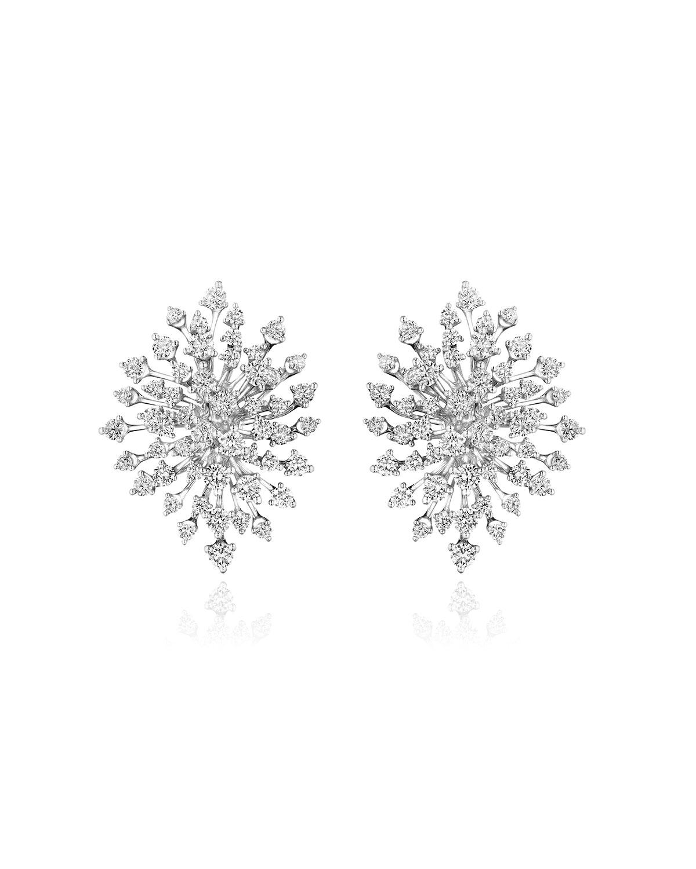 Luminus 18k White Gold Multi-Diamond Burst Earrings