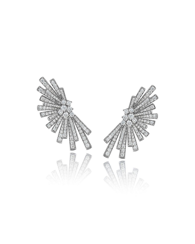 Tribal 18k White Gold Diamond Pave Statement Earrings