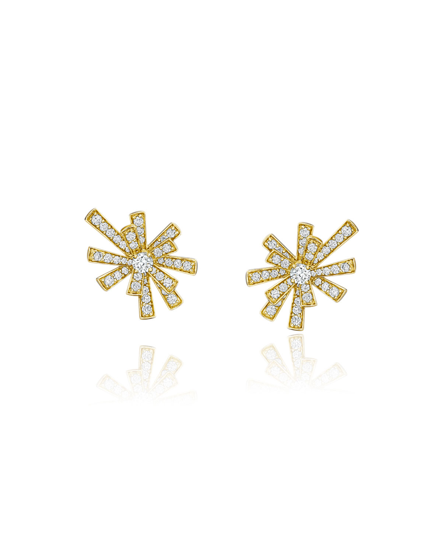 Tribal 18k Gold Diamond Pave Stud Earrings