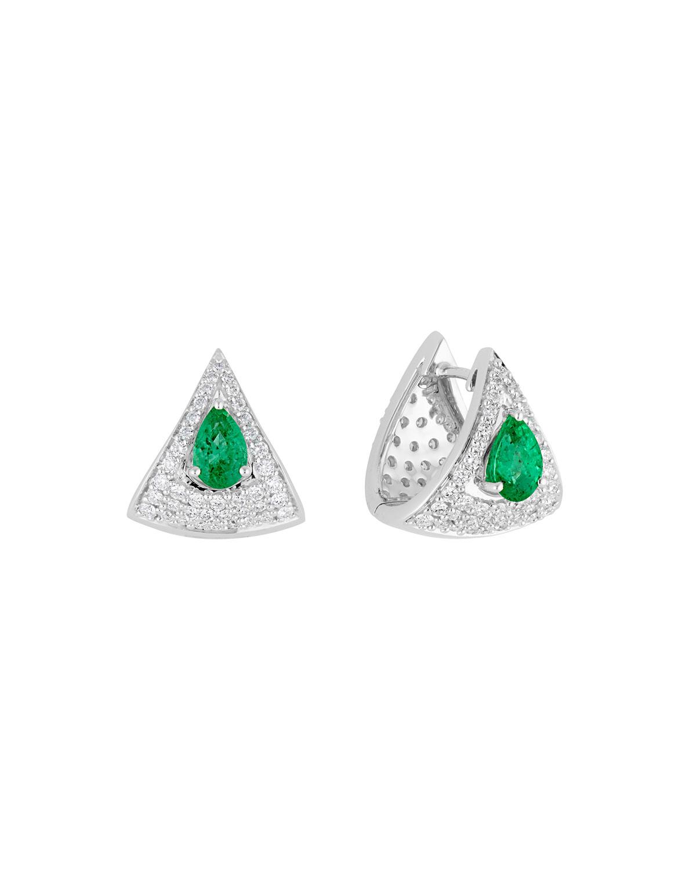 Mirage 18k White Gold Emerald and Diamond Huggie Earrings