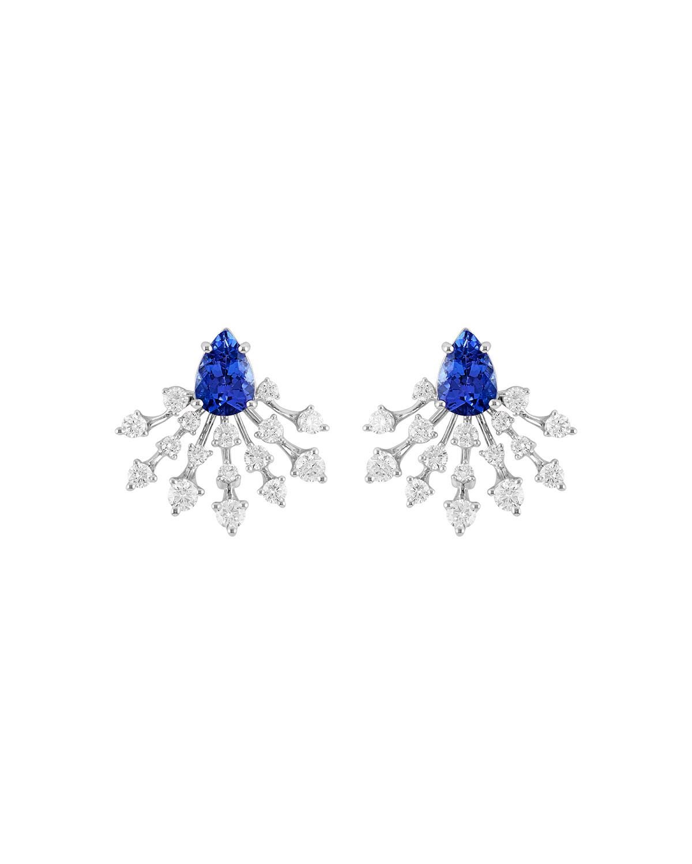Luminus 18k White Gold Tanzanite and Diamond Ray Earrings
