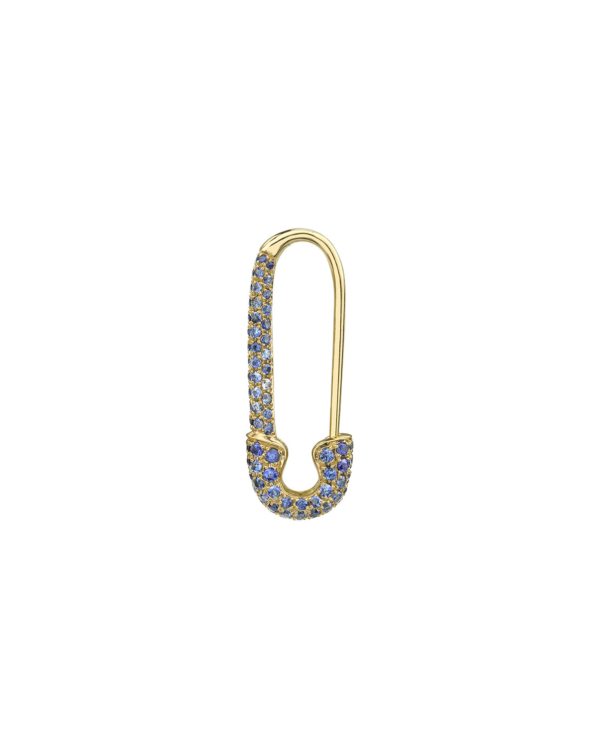 18k Gold Blue Sapphire Safety Pin Earring