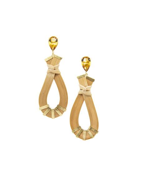 Silvia Furmanovich 18k Yellow Gold Brown Diamond and Pearl Bamboo Earrings