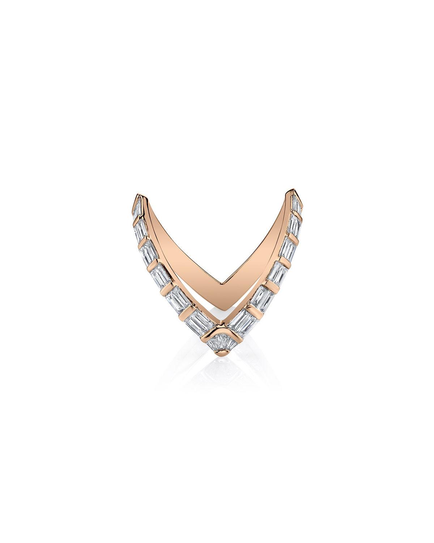 18k Rose Gold Baguette Diamond V Ring