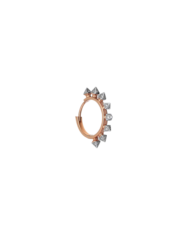 14k Rose Gold Diamond 8-Triangle Prism Hoop Earring