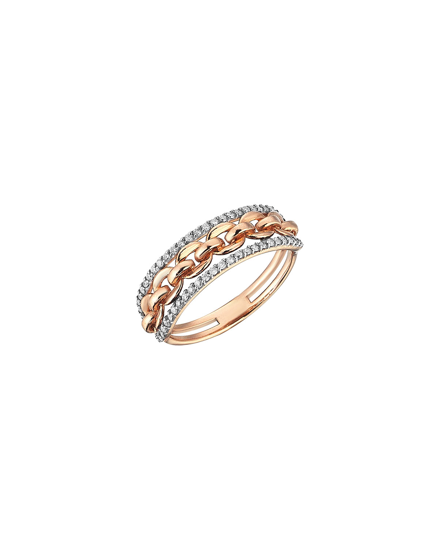 14k Rose Gold Diamond 3-Ribbon Chain Ring