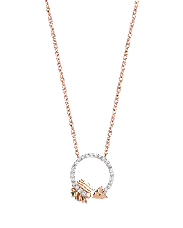 14k Rose Gold Arrow Full White Diamond Mini Circle Necklace