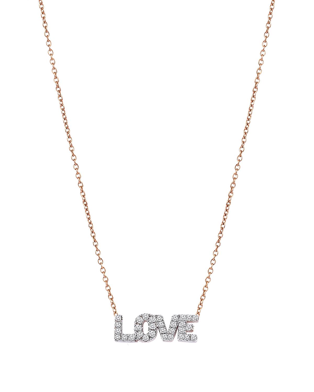14k Rose Gold White Diamond Love Necklace