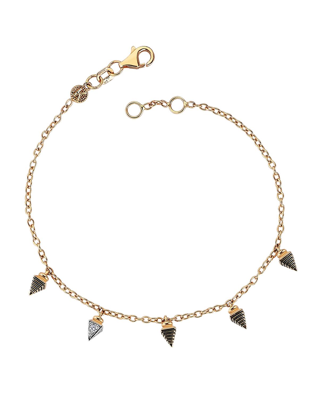 14k Rose Gold 5-Spear Bracelet with Diamonds