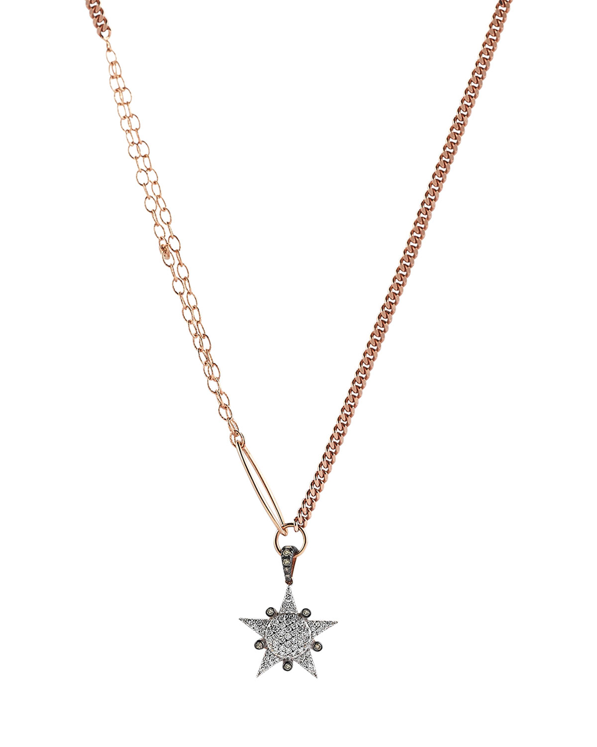 14k Rose Gold Eclectic White and Champagne Diamond Small Star Necklace