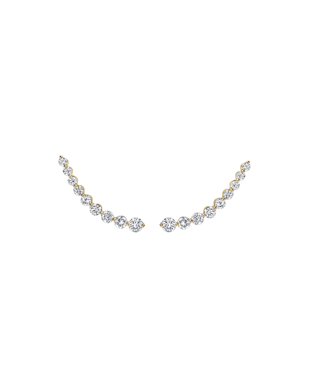 Single 18k Gold Graduated Floating Diamond Earring