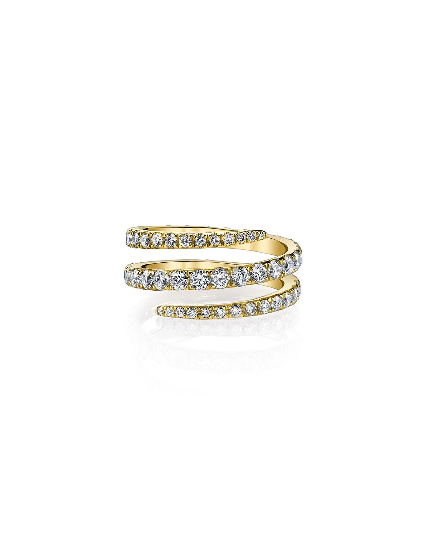 18k Yellow Gold Diamond Coil Ring