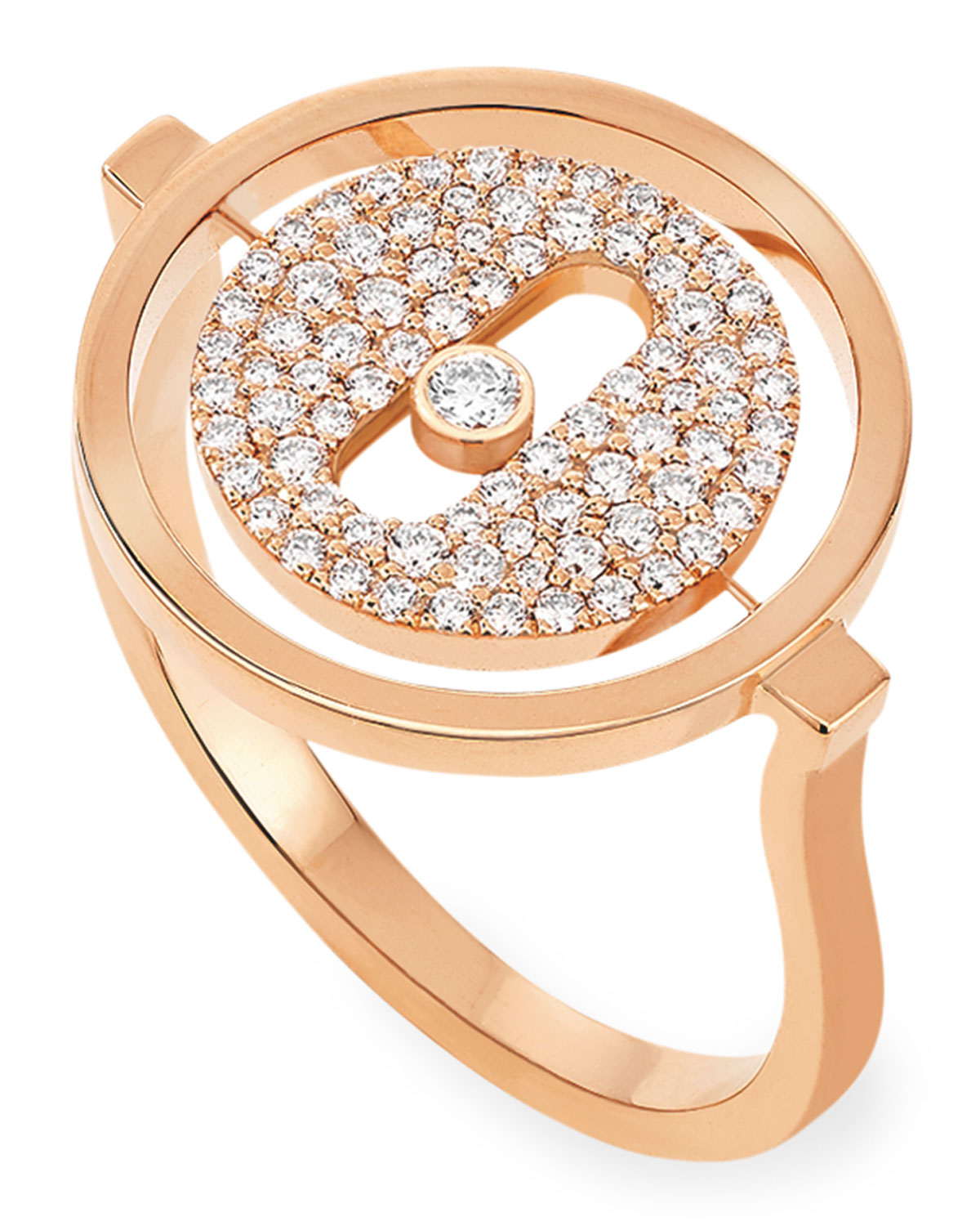 Lucky Move 18k Pink Gold Pave Ring